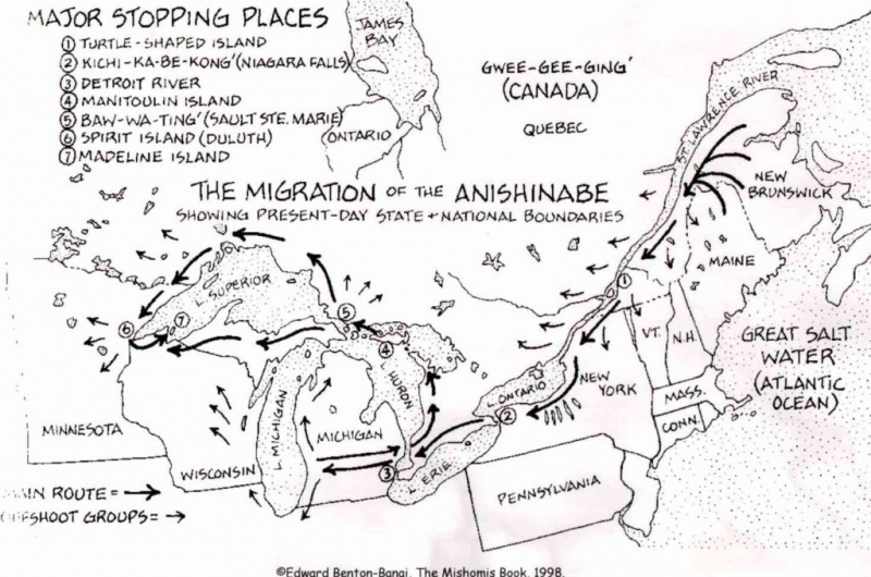 Migration Path Of the Algonquin People